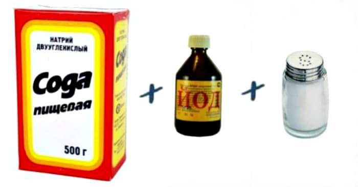 Ингредиенты для раствора сода+соль+йод