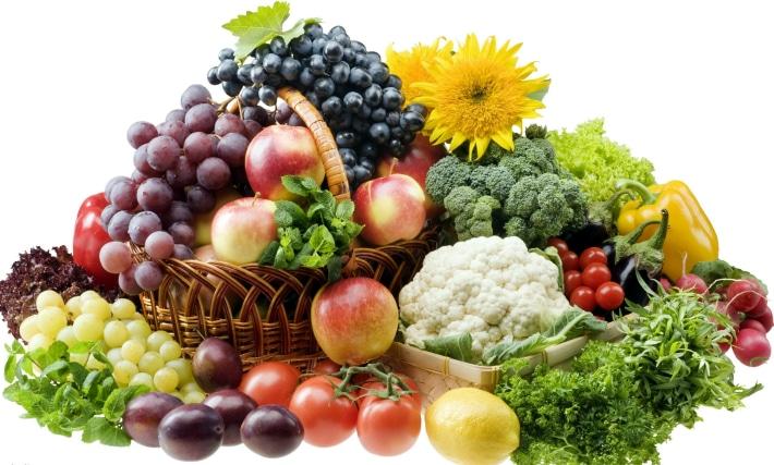 Употребление в пищу большого количества овощей и фруктов