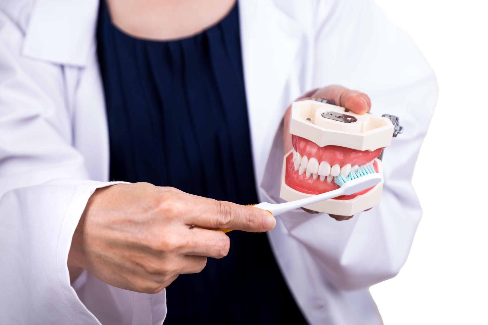 Протез с зубной щеткой
